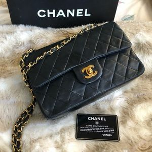 Chanel Classic Double Flap Lambskin Bag small vtg
